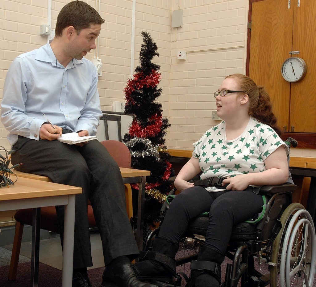 Stephen interviews Emily, beneficiary of an evening social club for people with learning disabilities run by offenders on Community Payback