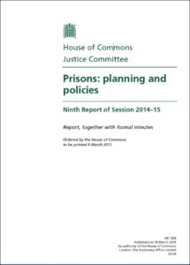 Justice committee prison report cover