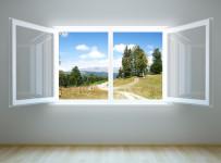 3d rendering the empty room with open window