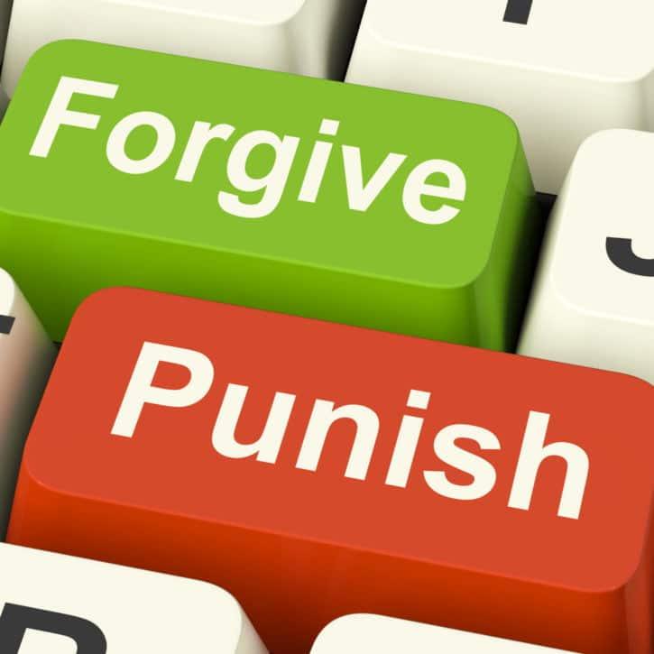 Punish Forgive Keys Showing Punishment or Forgiveness