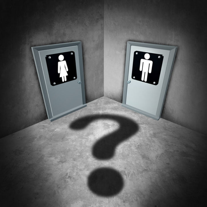 Transgender issues concept and gender identity symbol or sex reassignment surgery idea as a female and male bathroom doors with a question mark shadow as a metaphor for sexual confusion as a 3D iullustration.
