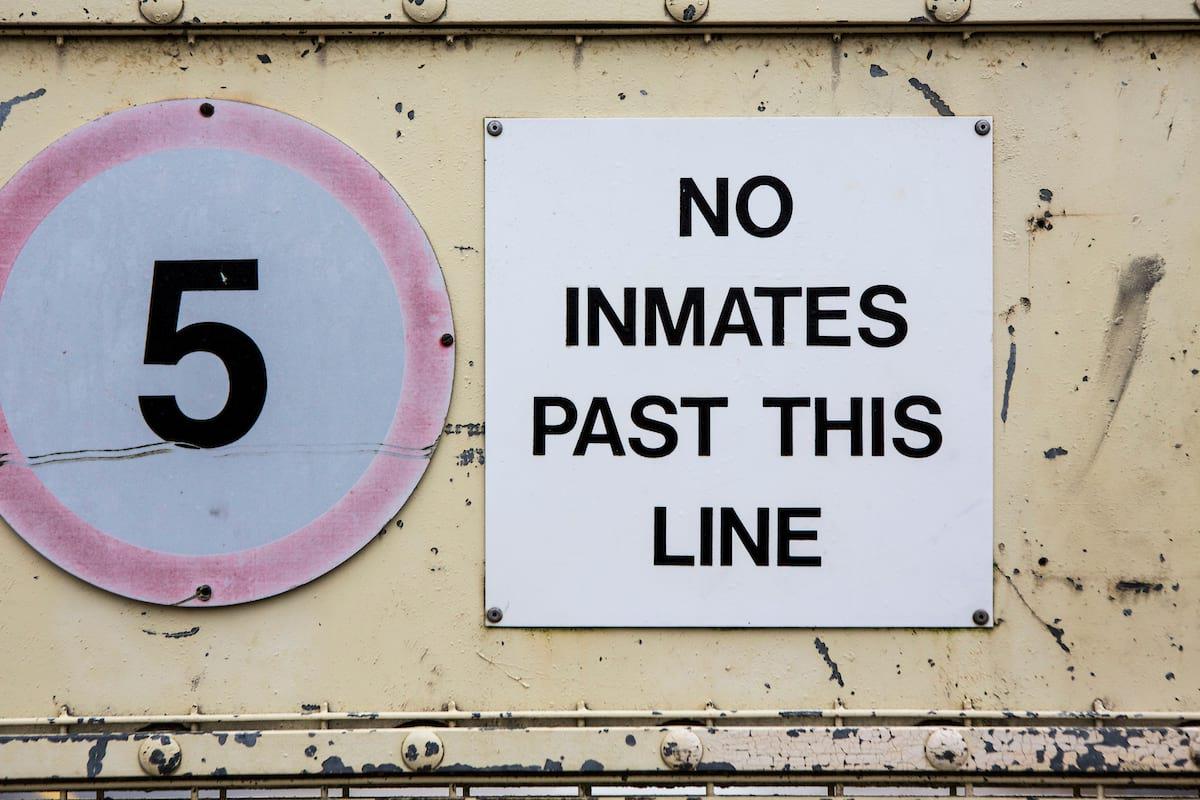 Sign at Portland prison