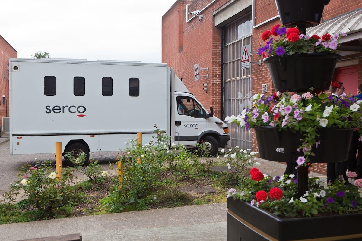 Prison van bringing prisoners from court