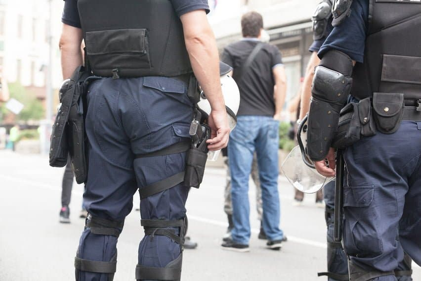Police officers on counter-terrorism duty.