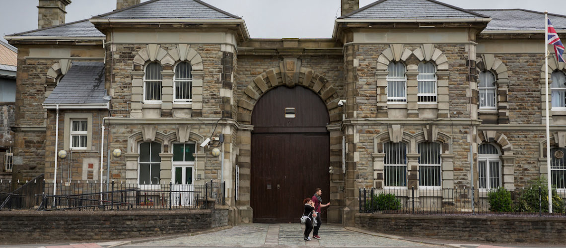 The main entrance of HM Prison Swansea,  a Category B/C men's prison, located in the Sandfields area of Swansea, Wales. The prison is operated by Her Majesty's Prison Service, and is colloquially known as 'Cox's farm', after a former governor.  (Photo credit MUST read: © Prisonimage.org)