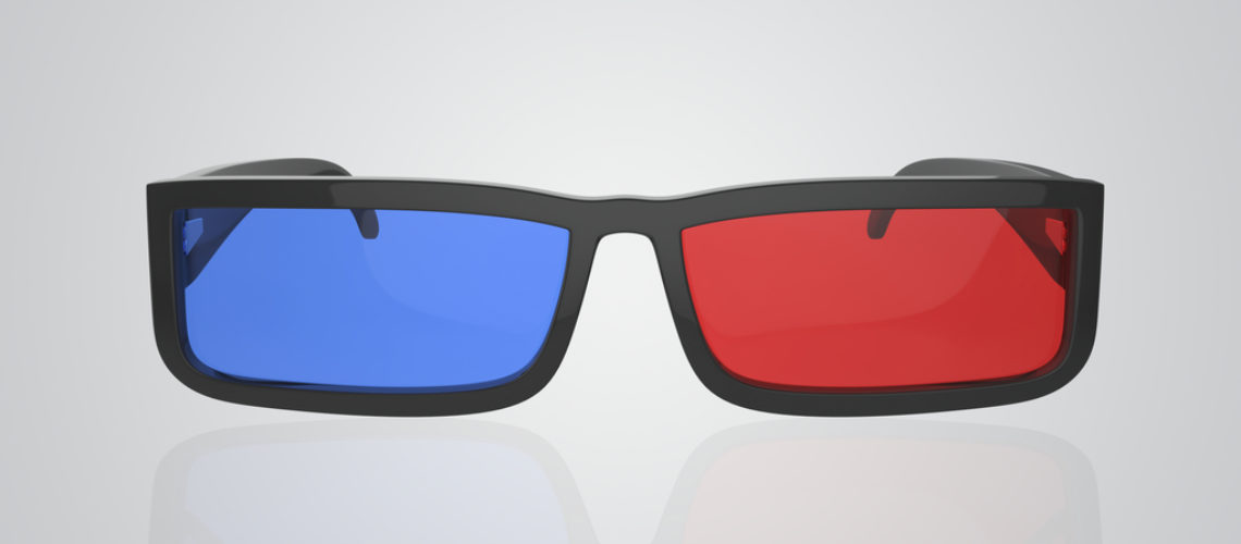 Front view of 3d glasses