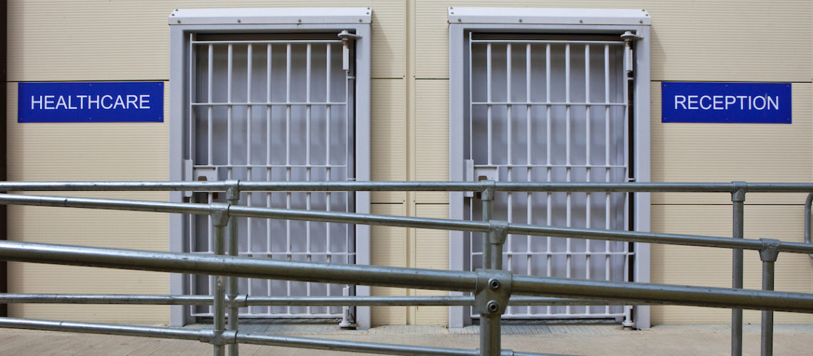 2 doors to the Healthcare and Reception centre at HMP & YOI Littlehey. Littlehey is a purpose build category C prison.