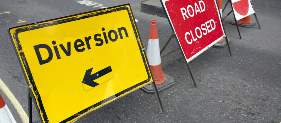 colorful road signs with the words diversity and road closed on london street
