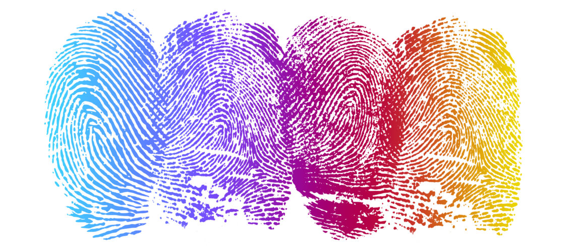 High resolution graphic of fingerprints with gradiant color.