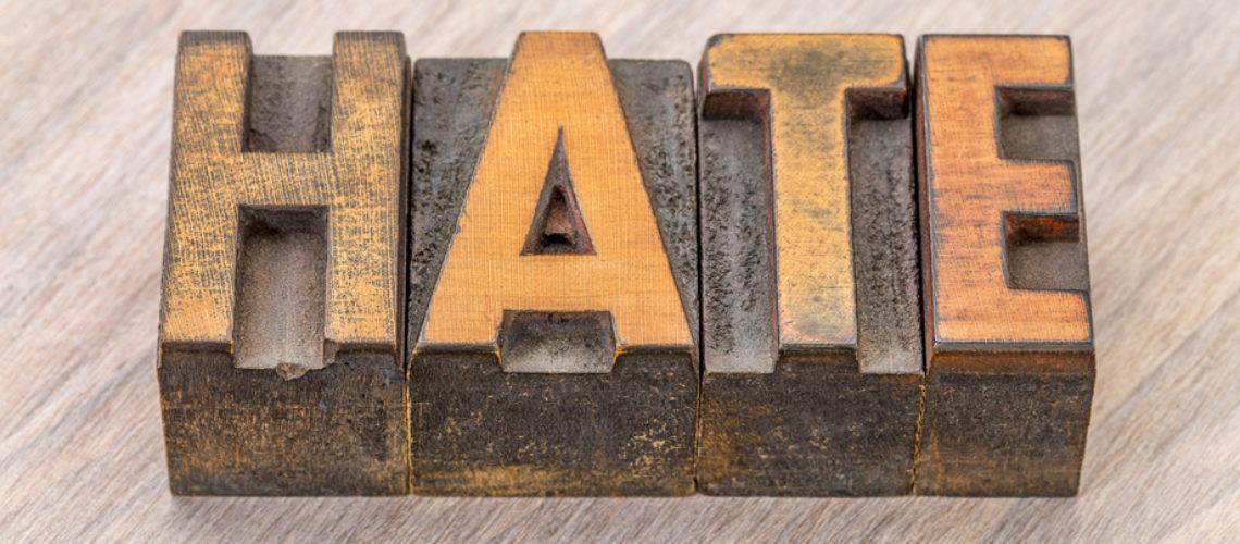 hate word abstract in vintage letterpress wood type blocks