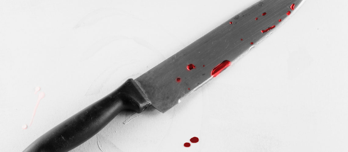 Knife in black and white with red blood drops, horizontal image