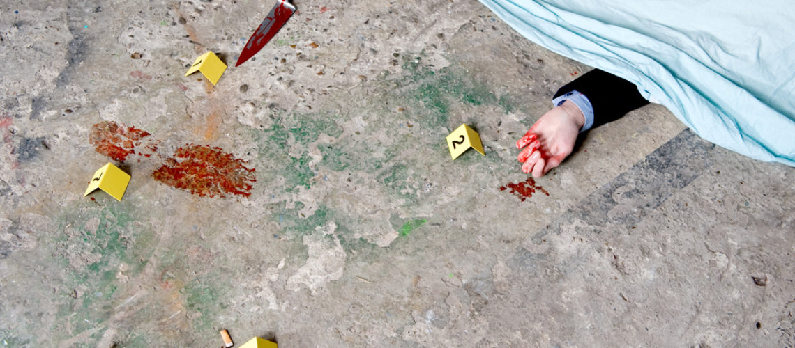 A covered corpse, with a bloody hand sticking out from underneath the shroud, surrounded by evidence: the murder weapon, a bloody foot print, and a cigarette butt