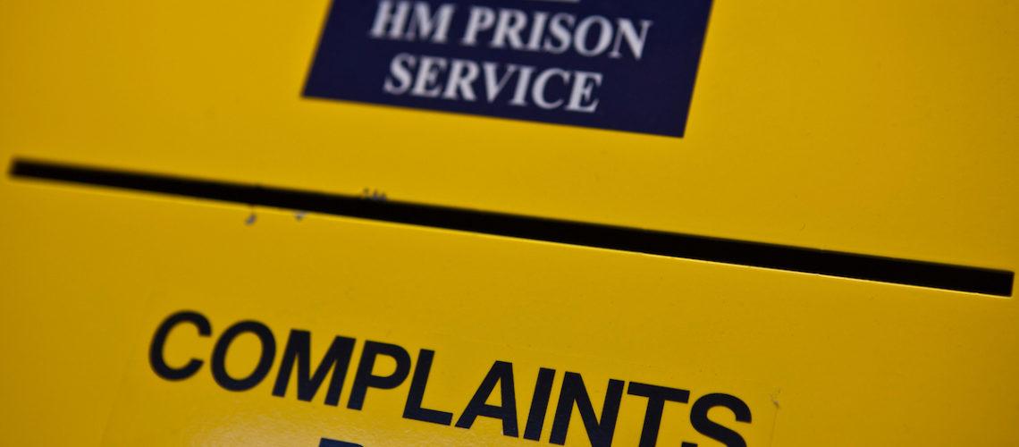 The prisoner complaints box on K wing of the YOI. HMP & YOI Littlehey. Littlehey is a purpose build category C prison.