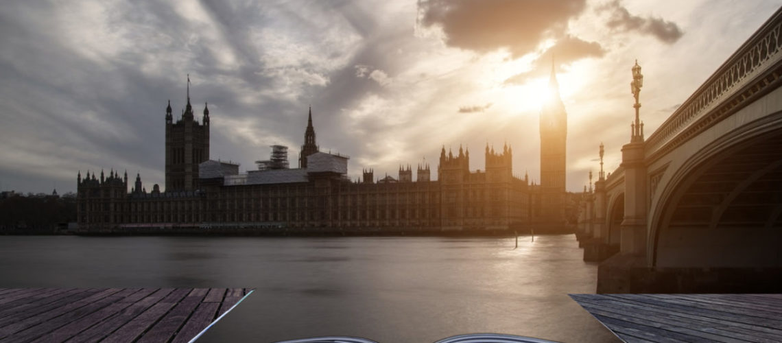 Landscape image of Big Ben and Houses of Parliament in Westminster London.