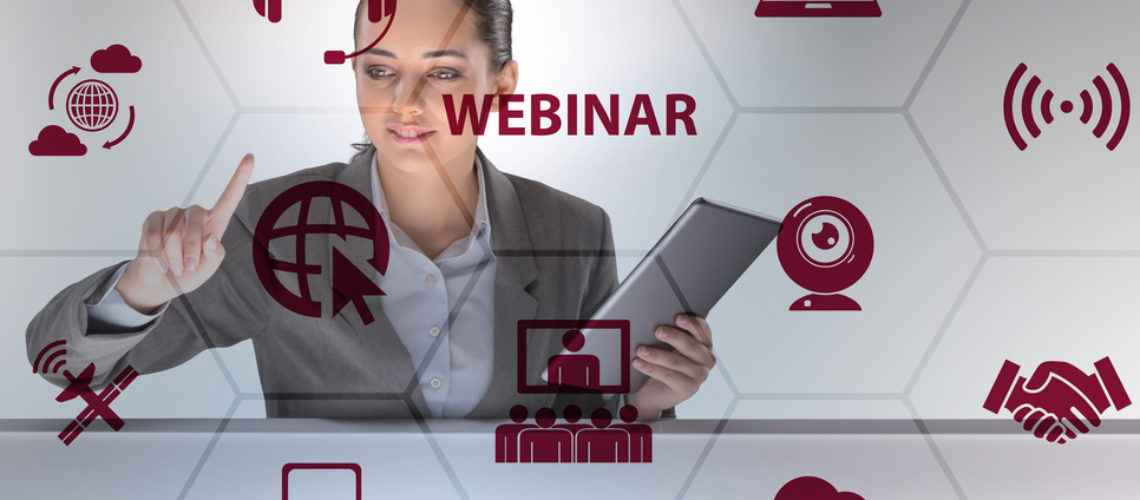 Businesswoman in online webinar concept